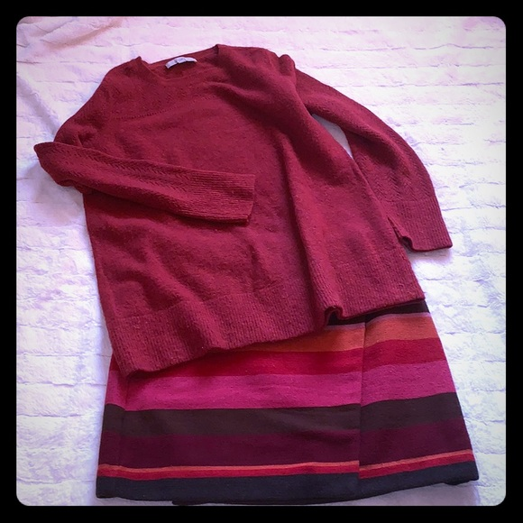 Multi coloured horizontal striped wrap skirt